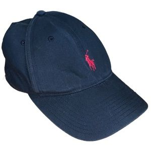 Polo Ralph Lauren Black Hat With Red Lettering